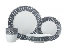 Harlequin 16 Piece Dinner Set, Black